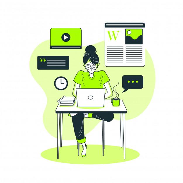 Search engine optimization illustration content writing