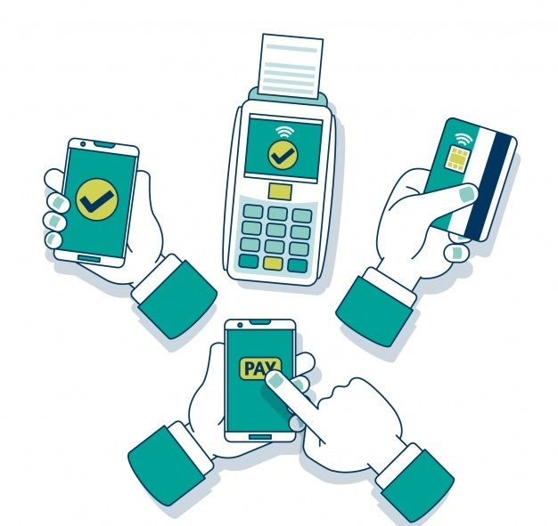Hand drawn contactless payment concept tropoi plirwmis