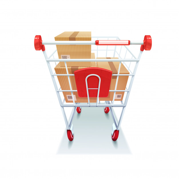 Shopping cart with boxes realistic image kataskeui eshop me wordpress woocommerce