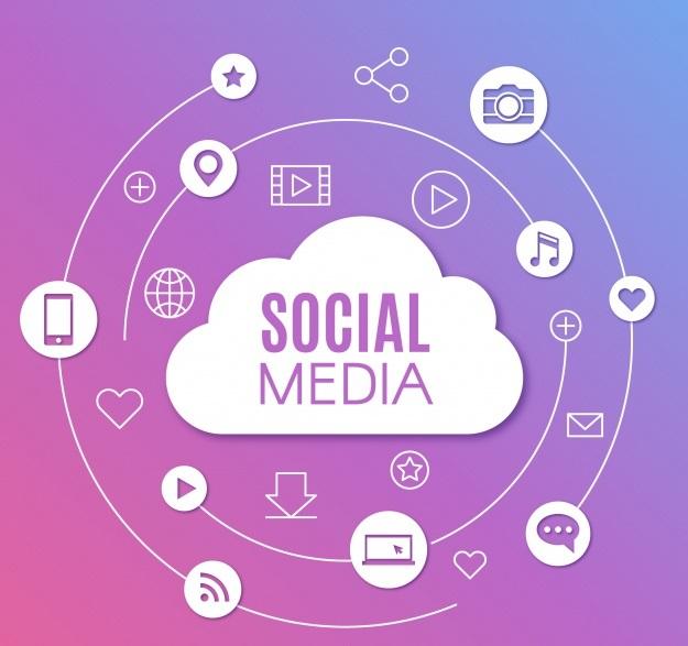 Social media background me flat design display marketing