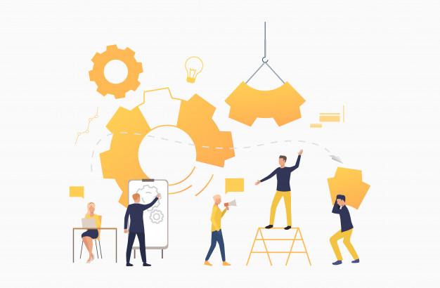 Business team working as mechanism social media strategy social media marketing