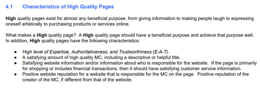Characteristics of high quality pages marousi