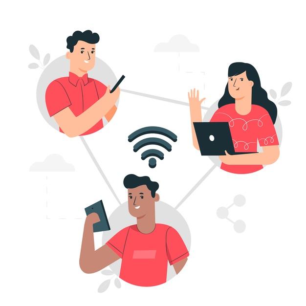 Connected concept illustration social media diadrasi social media marketing