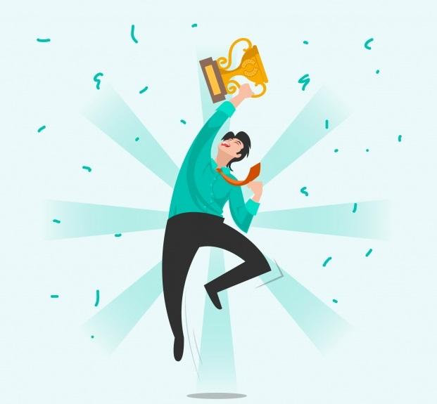 Happy character winning prize social media diagwnismoi social media marketing